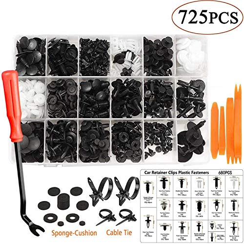 Uolor 725 Pcs Car Retainer Clips & Bumper Fasteners with Trim Removal Tool, Auto Push Pin Rivets, Door Fender Trim Panel Clips Assortment