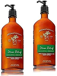 Bath & Body Works Aromatherapy Stress Relief - Eucalyptus + Spearmint Body Lotion, 6.5 Fl Oz, 2-Pack
