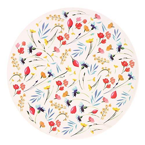 Les Jardins de la Comtesse – Juego de 4 platos de postre planos de bambú, diseño de flores de campo, muy resistentes, 20 cm, multicolor, biodegradables, sin BPA y PVC