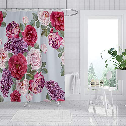 JOYSOG Rose Floral Shower Curtain, Colorful Floral with Leaves Shower Curtains for Bathroom, Water Resistant Fabric Shower Curtain Sets with 12 Plastic Hooks
