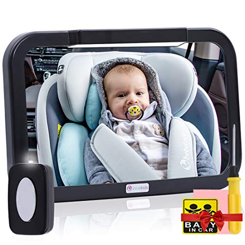 of baby floor seats dec 2021 theres one clear winner Baby Car Mirror with Light, Innokids Dual Mode LED Lighting by Remote Control, Clear View of Infant in Rear Facing Back Seat While Night Driving (Black)