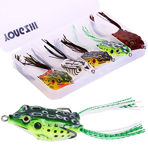 Fishing Lures Topwater Floating Weedless Lure Frog Baits with Double Sharp Hooks Soft Bait for Bass Snakehead Salmon Freshwater Saltwater Fishing (Mix Style)-A
