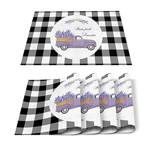 FAMILYDECOR Pack of 4 Placemats for Wedding Farm Fresh Lavender Truck Buffalo Black White Plaid - Stain Proof Place Mats for Dining Tabletop Protect, Non Slip Table Mats - Cotton Linen