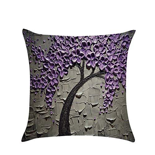 Gaoqi Funda de Almohada de Lino de algodón con Flores Vintage 3D, Funda de cojín para Cintura, Bolsos, Coche casero