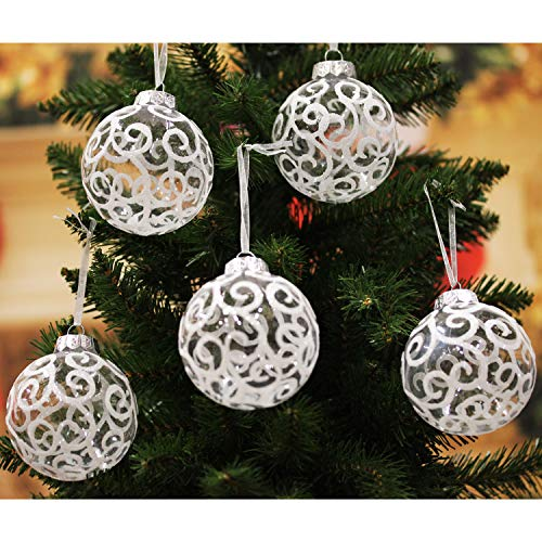 Sleetly White Christmas Ornaments, Transparent Swirl, 3.15 inch, Set of 12