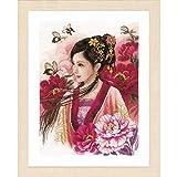 Unbekannt Lanarte Juego de Punto de Cruz Mujer en Rosa, asiáticas Cruz Cruz, algodón, Multicolor, 30x 41x 0,3cm