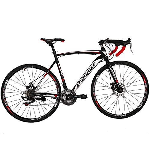Eurobike OBK XC550 Road Bike 700C wheels 21 Speed Daul Disc Brake Mens Bicycle 54cm/49cm Frame (54cm Aluminiun 30rims)