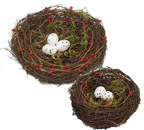 "Emlyn 6"" and 4.5"" Artificial Bird Nest Ornament with Faux Natural Berries and Moss Set for Easter-Great for Wedding Favors, Christmas Favors,"