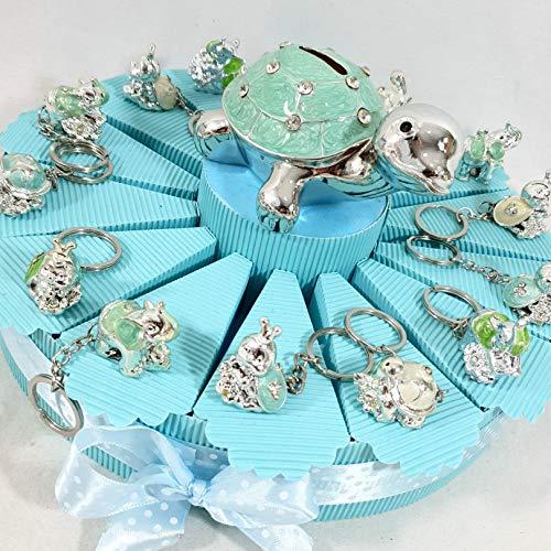 Struttura per bomboniere animaletti assortiti portachiavi madreperlati elefante, coccinella, tartaruga - battesimo, nascita, compleanno (Torta da 14 fette, (A) Senza confetti)