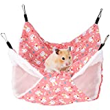 Small Pet Cage Hammock Warm Double Layer Hanging Bed Nap Sack Swing Bag Hideout Playing Sleeping for Parrot Hamster Rat(Cartoon Fan L)