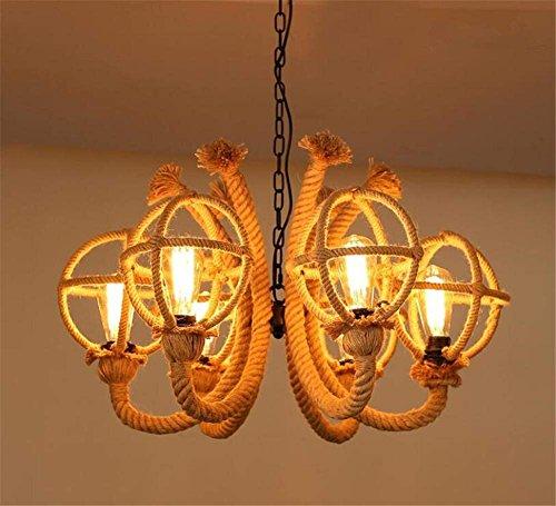 JUAN Mooie lampen/binnenverlichting kroonluchter bevestigingen hennep breien kroonluchter hanger industrie vintage stijl slaapkamer woonkamer tuin decoratie puur hand-geweven plafondlampen Ke