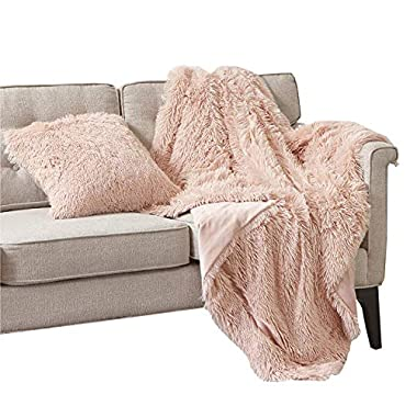 Comfort Spaces Luxury Shaggy Faux Fur Lightweight Throw Blanket | Soft & Warm Microfiber Blanket for Couch Bed Sofa - 50 x 60  Pink Blush with Pillow Cover