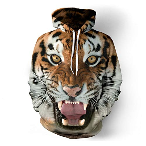 Tiger Head 3D Digitaldruck Pullover Hoodie Kapuzenpullover Casual Pullover Baseball Uniform Gr. Medium, tiger