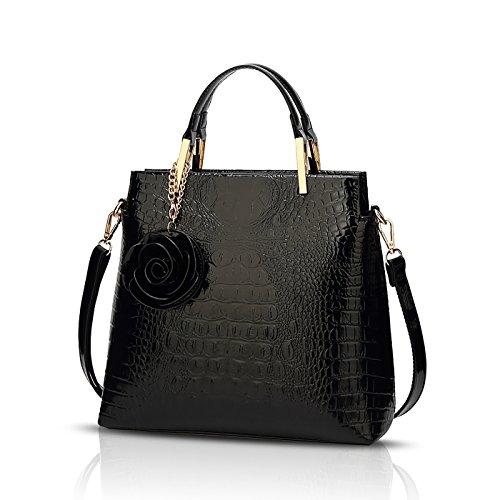Tisdaini® Damenhandtaschen Mode Kroko Schultertaschen PU Leder Shopper Umhängetaschen Schwarz