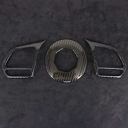 SPLLEADER Fibre De Carbone M/étallique 3pcs Garniture De Volant Couvre Accessoires De Voiture pour MG ZS EV HS MG6 MG5 EZS 2018 2019 2020 2021 Color Name : Metal Carbon 1CPS, Size : for MG5 21 22