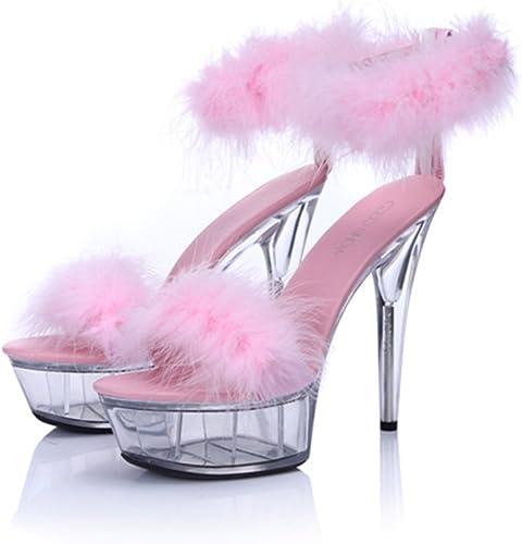 ALUK- Chaussures pour femmes - L'Europe et les Etats-Unis sexy 15cm chaussures à talons hauts chaussures en cristal transparent épais ( Couleur   Rose , taille   35-chaussures long225mm )