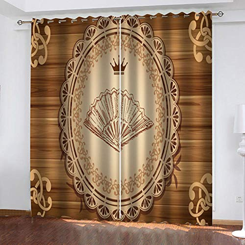 """Grommet Thermal Insulated Room Darkening Curtains Blackout Curtains for Bedroom Insulated Heavy Weight Textured Rich 2 Panels 140"""" W x 160"""" Hcm Flower Fan"""