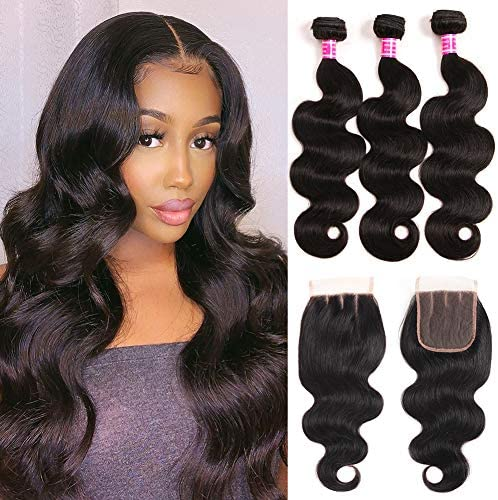 Mureen Brazilian Hair 3 Bundles with Closure Body Wave 4 4 Virgin Hair Lace Closure with Bundles product image