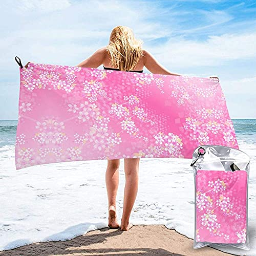 Toalla de baño con Flores de Cerezo y luz Brillante, Toalla de Playa, Uso Multiusos para Deportes, Viajes, súper Absorbente, Microfibra de Secado rápido Suave, Ligero, Blanco, 31.5 'x63