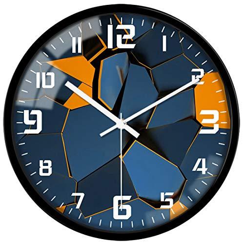 VIKMARI Kunst dekorative arabische ziffer Glass wanduhr batteriebetriebene Quarz-Silent-runde Uhren 12 Inch quadratisches Muster