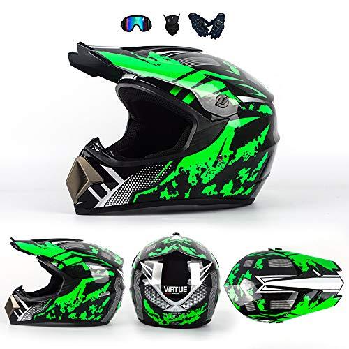 YX Casco da Moto per Bambini Casco da Cross caschi da Motocross MX Casco MX BMX Quad ATV Moto Adulto Casco da Strada con Guanti Maschera Occhiali per Uomo Donna Protezione di Sicurezza (4 Pezzi),S