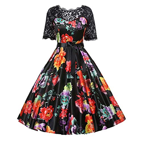 FRAUIT Elegant Floral cocktailjurk voor dames in 1950 rockabilly jurk korte mouwen kanten jurk polka dots jurk vintage petticoat jurken plooirok