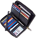 Chelmon Womens Wallet Leather RFID Blocking Purse Credit Card Clutch(CH Black)