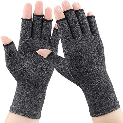 1 Paar Arthritis-Handschuhe, Kompression gegen Arthritis Schmerzlinderung Rheumatoide Arthrose und Karpaltunnel, Premium-Kompressions- und fingerlose Handschuhe zum Tippen und für die tägliche Arbeit