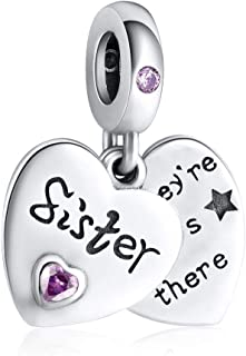 JIAYIQI Sisters 925 Sterling Silver Charm Fit Pandora Charms,Heart Love Silver Charms for Bracelets Necklace