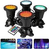 KACC LED-Beleuchtung Gartenteichleuchte, Unterwasser-RGB-Spotlichter, Farbwechsel 36 LED-Aquarienleuchte mit Fernbedienung, für Gartenbrunnen Aquarium Pool (4er-Set)