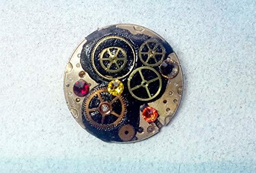 Steampunk Brosche, 1 kupferfarbe Teil, Funktionsweise von mechanischen Uhren, schwarzen Harz,orange Swarovski Kristalle, Mit extra Zubehöre in 3 Schmuck in 1 verwendbar