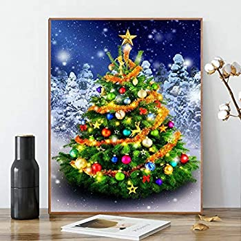 ACENGXI Christmas Paint by Numbers Christmas Paint by Numbers Santa Claus DIY Canvas Paint by Numbers Christmas Tree Acrylic Painting Home Decor Paint by Numbers Kits Christmas Tree for Adults 16x20In
