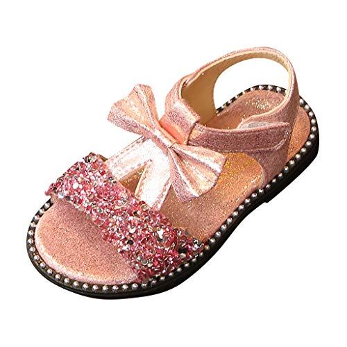 Berimaterry Zapatos de Tango Latino para Niños Vestir Fiesta Arco Princesa Sandalias Perla Rhinestone Lentejuelas Zapatitos de Tacón Bebé Niña Primavera Verano Zapatillas de Baile Niñas 3-14 Años