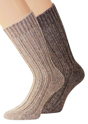 """2 Paar flauschig warme Alpaka Socken Winter Socken \""""warme Füße in der kalten Jahreszeit\"""" (39-42, Beige/Braun)"""