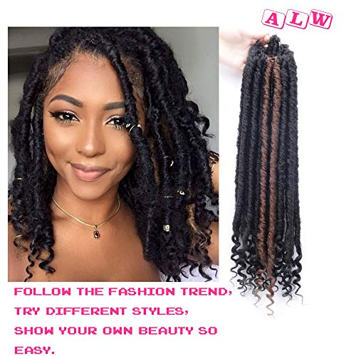 AILEWEI Faux Locs Crochet Braiding Hair Curly DREADLOCK Middle-Length Faux Locs Nature Goddess Locs Crochet Hair Braids Synthetic Hair Extensions, 21 Roots/Pack, 3 Packs/lot,16 Inches