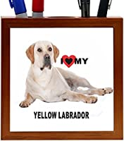 Rikki Knight I Love My Yellow Labrador Dog Design 5-Inch Tile Wooden Tile Pen Holder (RK-PH45033) [並行輸入品]