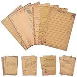 Carta da Lettere Vintage, Comius Sharp 56 Fogli Carta Kraft Lettera Kraft Carta da Lettera a Righe con 7 Modelli, Set Carta da Lettere per Auguri di Vacanza, Lettere, Inviti a Feste e Riunioni