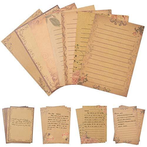 Papel de Escribir Vintage, Comius Sharp 56 Hojas Papel de Carta Vintage Papel de Escribir Papelería con 7 Estilos de Patrones Retro Invitaciones Tarjetas Regalo Fiesta de Boda Cumpleaños Papel