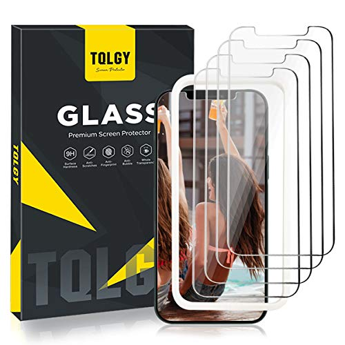 """[4 Pack] TQLGY Screen Protector for iPhone 12 Pro Max 6.7"""" 2020, 9H Hardness Tempered Glass for iPhone 12 Pro Max 6.7 - inch [Easy Installation Frame] HD Clear, Case Friendly, Anti-Scratch"""