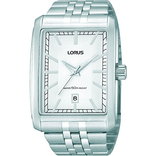 Lorus RS989AX9 Men\'s Classic Solid Steel Rectangular Watch