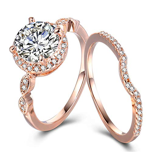 TIVANI-CITY Women's 2PCS Vintage 18K Rose Gold Plated Cushion Cut CZ Bridal Engagement Wedding Rings Set Best Anniversary Eternity Love Promise Rings for Her Heart&Arrow Jewelry Rings Enhancers (9)