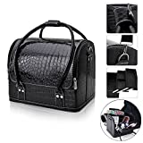 FLYMEI Professional Makeup Train Case, Large Space Make Up Artist Box Beauty Case Nail Polish Cosmetic Storage with Removable Tray Shoulder Strap (Black)
