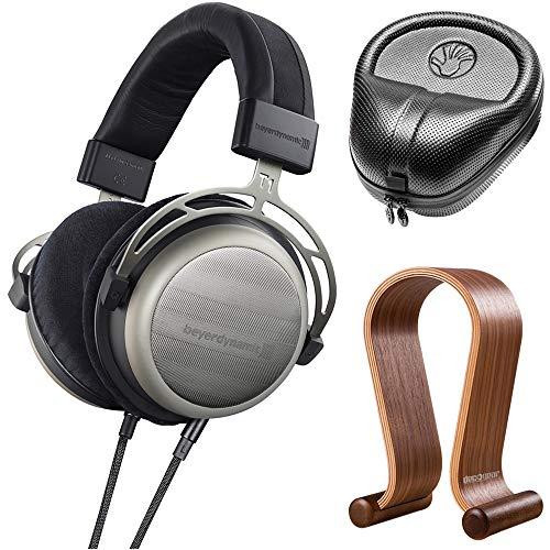 beyerdynamic 718998 T1 Second Generation Audiophile Stereo Headphone Bundle with Slappa HardBody PRO Full Sized Headphone Case (Black) and Deco Gear Wood Headphone Display Stand