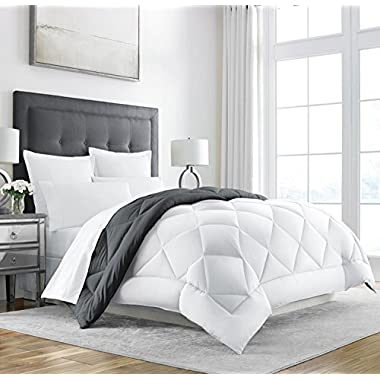 Sleep Restoration Goose Down Alternative Comforter - Reversible - All Season Hotel Quality Luxury Hypoallergenic Comforter -King/Cal King - Grey/White