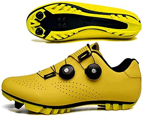 KUXUAN Zapatos De Ciclismo para Hombre,Zapatos De Bloqueo Zapatos De Bicicleta De Montaña con Bloqueo De Cordones De Bicicleta Unisex,Yellow-EU44