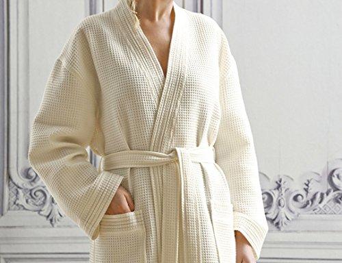 Blanc des Vosges Peignoir Manoir Craie Taille L - 100% coton Nid d'abeille