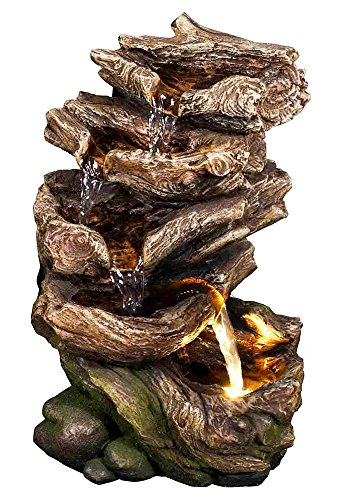 11' Forest Glade Log Fountain w/LED Light: Amazing Life-Like Log Indoor/Outdoor Water Feature for Tabletops, Gardens & Patios. Hand-Crafted Design. Recirculating Adjustable Pump. HF-L08-11LT