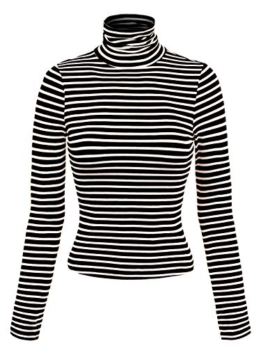 MixMatchy Women's Tight Fit Lightweight Solid/Stripe Long Sleeves Turtle Neck Top Black L