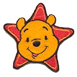 Iron on Patches - Winnie The Pooh 'Star' Disney - Yellow - 6,2x6,2cm - Application Embroided Patch Badges