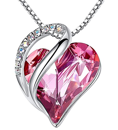Leafael Infinity Collar con colgante de corazón de amor, rosa caliente, piedra natal de octubre, joyería de cristal, regalos para mujeres, tono plateado, 18 '+2'